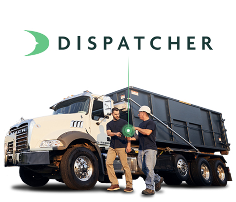 Dispatcher.com Logo with Roll Off Truck