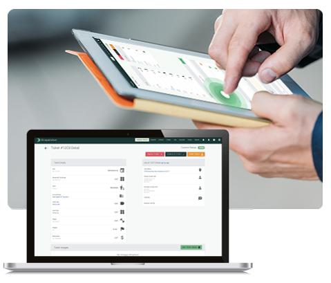 Desktop and Tablet Views of Order Management System.