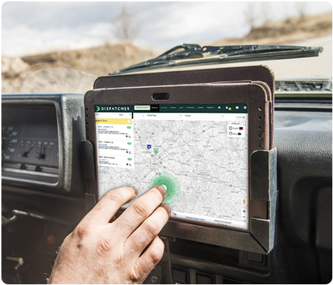 Tablet View of Routing a Dumpster Delivery