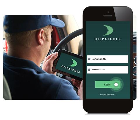 Mobile App View of Driver Login Screen.