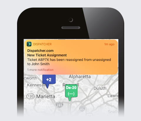 Smartphone View of Notification Update for Ticket Reassignments.