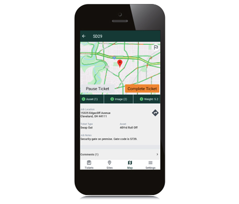 Smartphone View of Ticket Management Screen.