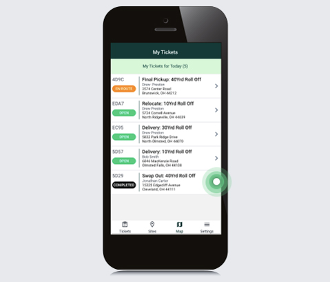Smartphone View of Daily Job Tickets and Statuses.